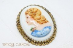 Milk Glass Cameo Brooch