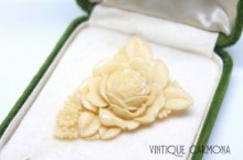 Celluloid Ivory Color Rose Dress Clip