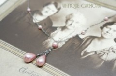 Faux Pink Pearl Necklace in An Old Photo