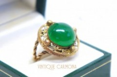 【CZECHO SLOVAKIA】 Green Glass Ring