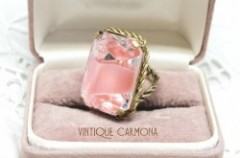 【CZECHO SLOVAKIA】 Pink & Clear Glass Ring