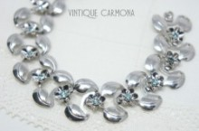 Chrome Link Bracelet with Flower and Rhinestone
