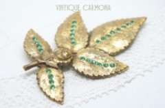 Leaf and Rose Brooch with Green Rhinestone