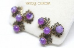 Purple Plastic Cabochon Filigree Earrings