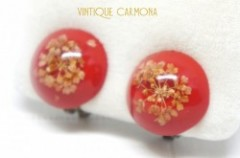 Plastic Dome Dried Flower Earrings