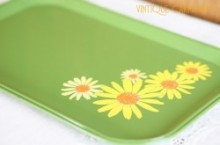 Tin Metal Flower Print Rectanglar Serving Tray