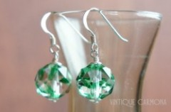 Facetted Glass Bead Remake Silver Pierced Earrings