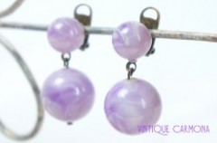 Purple & Milk Ball Dangle Earrings