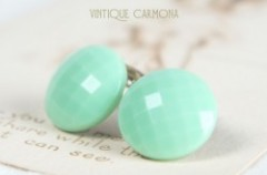 Pastel Green Round Glass Earrings