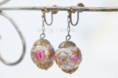 "Art Glass Beads ""Wedding Cake"" Earrings"