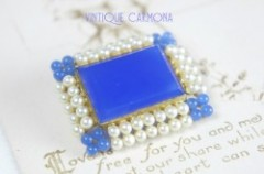 【Germany】 Glass & Faux Pearl Brooch
