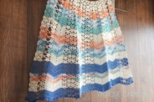 White & Multicolor Crocheted Half Apron