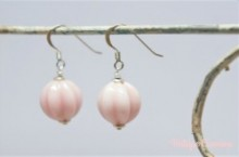 Melon Glass Bead Remake Silver Pierced Earrings