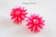 Pink Flower Clip Earrings