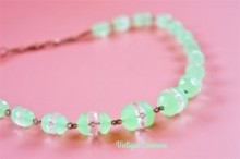 Mint Geen Uranium and Clear Cut Glass Necklace