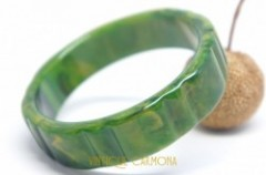 Bakelite Bangle : Green & Yellow Marble