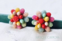 Multi Color Round Clip Earrings