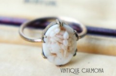 Milk Glass Cameo Ring