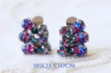 Iris Glass Clip Earrings