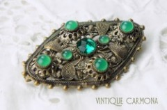 Openwork Green Glass Brooch