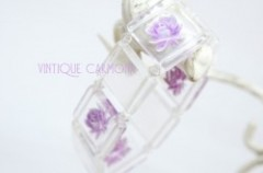 Lucite Bracelet / Purple Rose