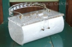 【CHARLES S. KAHN】 Carved Lucite top Bag