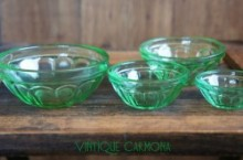 Nesting Miniature Green Depression Glass Bowls Set