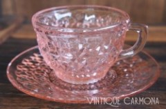 【Jeannette Glass Companey】 Pink Cup & Saucer Set