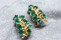 【HOLLYCRAFT】 Green Rhinestone Earrings