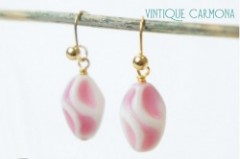 Milk Glass Art Beads Remake Pierced Earrings