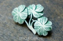 Carved Four Leaf Clover Brooch