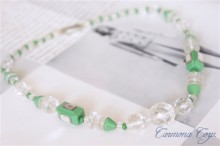 ART DECO Green & Clear Necklace