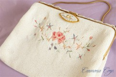 French Beaded Evening Handbag : White Floral