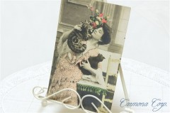 Postcard * Lady and cats *