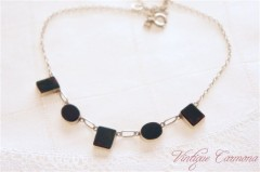 Deco-style Silver & Agate Necklace