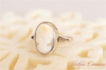 Silver Shell Cameo Ring #13-#14