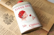 """Cussons"" DAMASK ROSE TALC  TIN"
