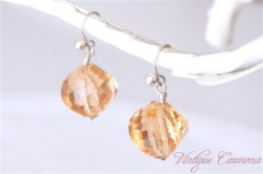 Apricot Glass Beads Remake Pierced Earrings