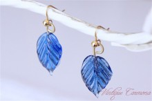 Leaf Glass Beads Remake Pierced Earrings