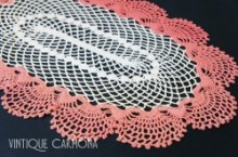 Paleviletred & White Table Doily
