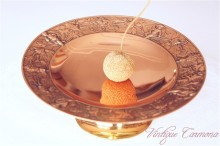 Copper color Metalware Stand Tray Dish