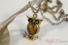 Owl Motif Tiger Eye Pendant