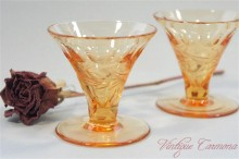 Cut & Etched  Amber Mini Dish Set