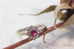Silver x Pink & Clear Cut Glass Ring #13