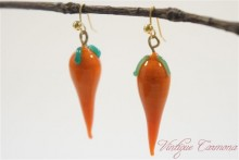 Carrot Glass Beads Remake Pierced Earrings