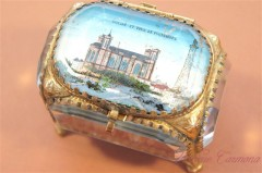 VICTORIAN French Souvenir Glass Jewelry Box