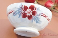 French Cafe Au Lait Bowl with Red Stencils Flowers