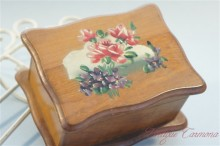 Floral Painted Olive Wood Padded Jewelry Box