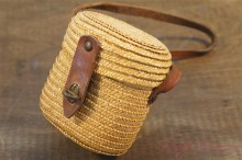 French Miniature Leather & Straw Bag