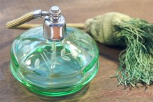 Green Cut Glass Purfume Bottle